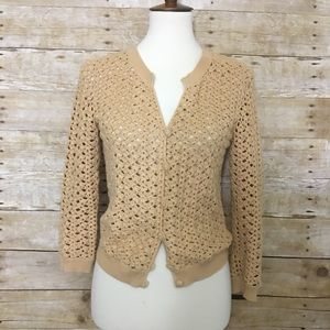 LAFAYETTE 148 Tan Crochet Button Front Cardigan